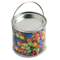 Medium PVC Bucket Filled with Choc Beans 400G (Mixed Coloured)