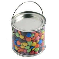 Medium PVC Bucket Filled with Choc Beans 400G (Corporate Colours)