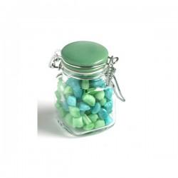 Corporate Coloured Humbugs in Glass Clip Lock Jar 80G