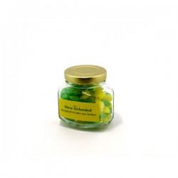 Corporate Coloured Humbugs in Glass Squexagonal Jar 80G