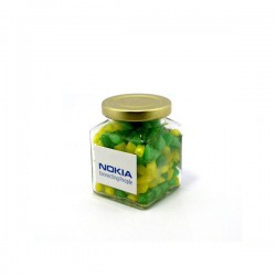 Corporate Coloured Humbugs in Glass Square Jar 140G