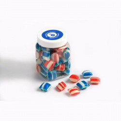 Corporate Coloured Humbugs in Plastic Jar 150G