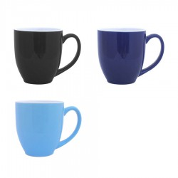Vancouver Cup Shaped Mug, Black, Blue/white inside - LARGE (440ml)