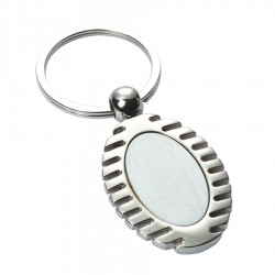 Metal Key Ring Grooved Oval