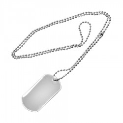 Standard metal dog tag with ball chain (with border)