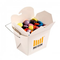 White Cardboard Noodle Box Filled with Choc Beans Smartie Look Alike 100G (Mixed Colours)