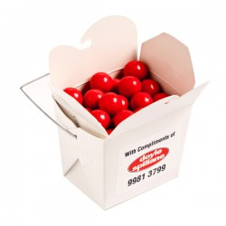 White Cardboard Noodle Box Filled with Orange Choc Drops (Jaffa Look Alike) 100G