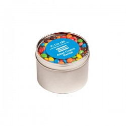 Small Round Acrylic Window Tin Fillled with M&Ms 160G